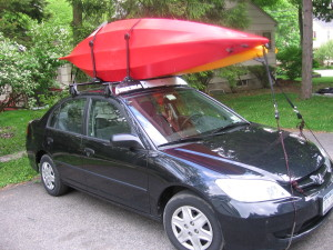 Ever seen a Civic with two bikes and two kayaks loaded on it?